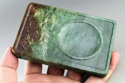 4.8'' China old green jade,Chinese hand-carved dragon jade Ink Stone 0440