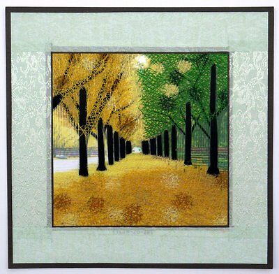 "Chinese Suzhou embroidery painting landscape trees 12x12"" hand-made SuSew art"