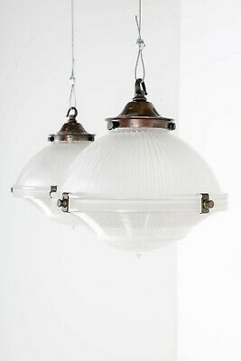 Antique Three Part Holophane Pendant Ceiling Lights