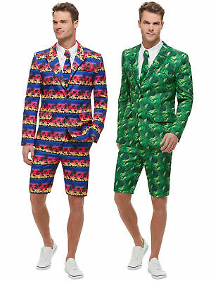 Mens Flamingo Palm Tree Hawaiian Shorts Suit Fancy Dress Beach Summer Outfit