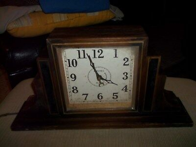 Antique Mantle Alarm Clock 1920-1930'S ? Erea Made By The Electric Co, Art Deco