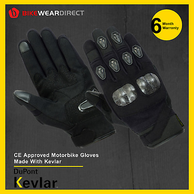 Motorbike Motorcycle Gloves Short Cuff CE Approved Biker [Made With Kevlar® Pro]