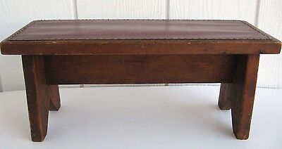 Vintage Primitive Leather Wooden Wood Bench Small Salesman Sample Toy Size