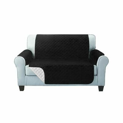 2-Seater Anti-Slip Quilted Sofa Cover Pad Couch Water Repellent Slipcover Black
