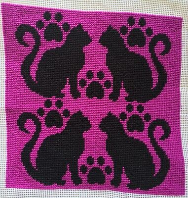 Modern Tapestry: Unique Handmade 'Kitty Cats (Pink)' Sampler