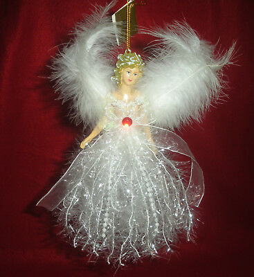 New Christmas July Birthstone Angel Ornament Feather Wings, Beads, Ribbon, Rubby