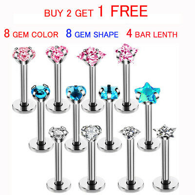 Labret Monroe Lip Bar Tragus Cartilage Helix Ear Ring Stud Upper Ear Piercing