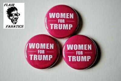"Women for Donald TRUMP 2020 Pin Pinback Button 1"" Build the wall MAGA Pink"