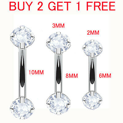 Gem Crystal Curved Barbell Rook Piercing Genital Bars Daith Ring Eyebrow Stud