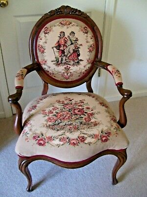 Antique Victorian Walnut Frame Arm Chair - copy of original upholstery