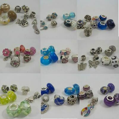 9c209670d Set of 8 Silver crystal charms beads European bracelets 20 themes you  choose 14
