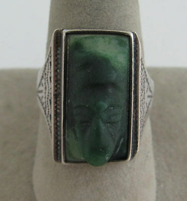 Carved Green Onyx Mask Ring Mexican Sterling Silver Aztec God Cameo Face Mexico