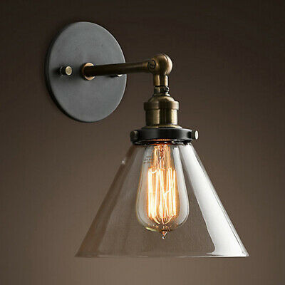 Vintage Retro Industrial Bronze Wall Lamp Sconce Light Glass Lampshade Metal Arm