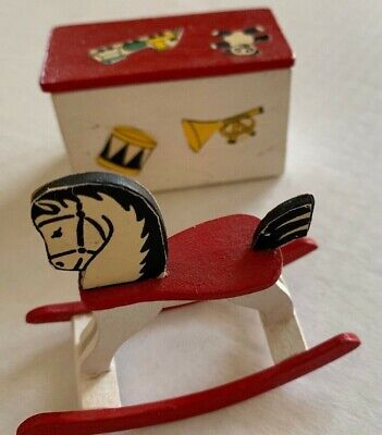 Vintage Dollhouse Miniatures Painted Toy Box & Rocking Horse Childs Playroom