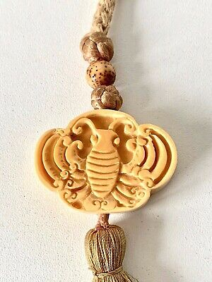 Antique Japanese? Hand Craved Bovine Butterfly? Bug NETSUKE Tassel Belt