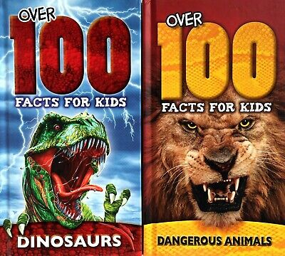 Over 100 Facts For Kids, Dangerous Animals & Dinosaurs, 2 Book Set, Hardback New