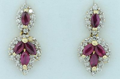 Art Nouveau Style 14K Yellow Gold Natural Ruby and Diamond Dangle Earrings