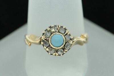 Art Nouveau (ca. 1900) 14K Rose Gold Turquoise and Diamond Ring (Size 7 3/4)