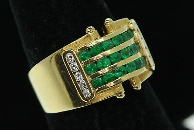 Art Nouveau Style 18K Yellow Gold Wide Emerald and Diamond Band Ring (Sz 6 1/4)