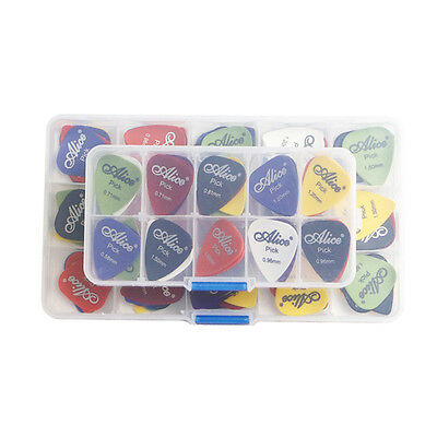 24-100x Acoustic Electric Bass Guitar Picks Plectrum Various 6 thickness + Case