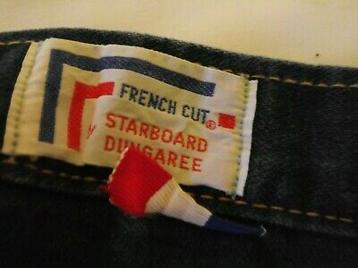 French Navy Sailor Uniform Blue Jeans Vintage 34 x 30 bell bottoms.Dungaree