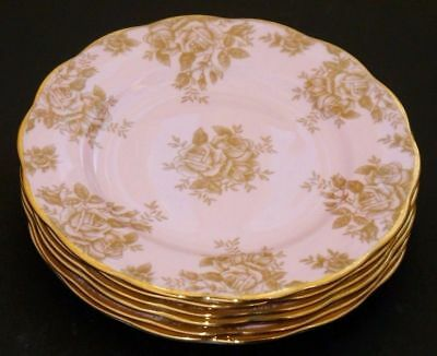 Royal Albert 100 Years 1960 Golden Roses ~ Set Of Six 20cm Side Plates ~ New