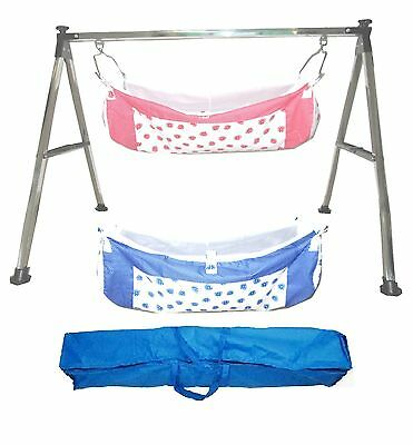 Smart Steel Squire Folding Baby Cradle with Two Cotton Hammocks KR70
