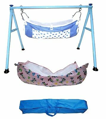 Smart Blue Square Folding Baby Cradle with two cotton hammocks Model No. KR77