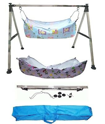 Smart Steel Square Folding Baby Cradle with Two Cotton Hammocks Model KR84