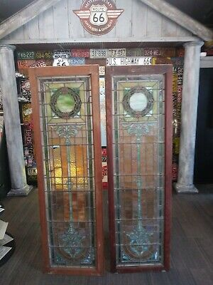 A pair of Antique American Stained Glass CATHOLIC CHURCH Architectural Salvage
