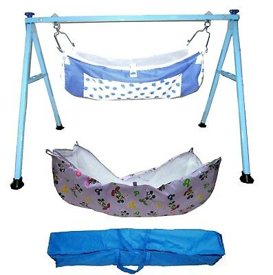 Smart Blue Folding Cradle with two cotton hammocks with mosquito net model KR44