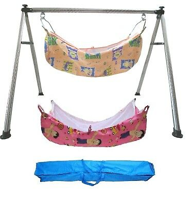 Smart Round Steel Folding Baby Cradle with Two Cotton Hammocks Model No. KR120
