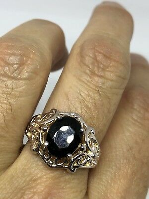 Vintage Genuine Smoky Topaz Deco 925 Sterling Silver Ring