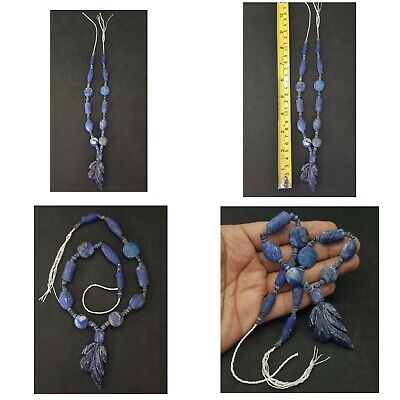 Unpolish Old Natural Beautiful Lapis Lazuli Beads Strind with a pendant #