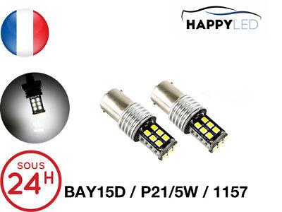 2 X AMPOULES 30 LED SMD - BAY15D / P21/5W / 1157 Canbus - BLANC ®