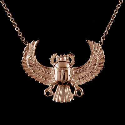 14K Pink/Rose Gold Egyptian Scarab Scarabeaus Amulet Necklace Pendant