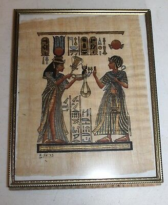 Hand Painted Signed A Farag Egyptian Art On Papyrus!