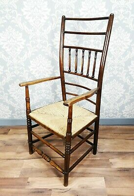 Antique Unusual Tall Regional Georgian Country Spindle Back Armchair Circa 1820