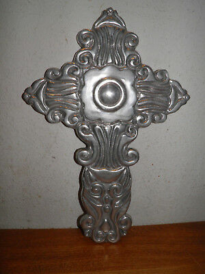 "METAL CROSS 15""h  RELIGIOUS STEAMPUNK GOTHIC DECOR,WESTERN CHRISTIAN BUY IT NOW"