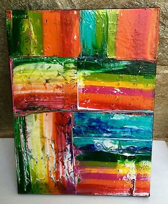 """Original Modern Abstract Painting Textured Multicolor By Jamie Freier 12x16"""""""