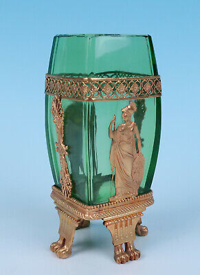 19thC French Ormolu Mounted Green Glass Vase Empire Gilt Bronze Antique Paw Feet