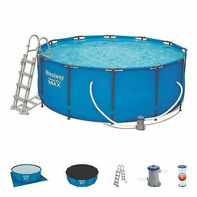 """Bestway 12ft x 48"""" Steel Pro™ Frame Pool Set Swimming, Ladder Cover Ground Sheet"""