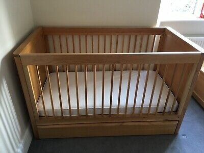 M S Chloe Oak Wooden Cot Bed With Storage Drawer 40 00