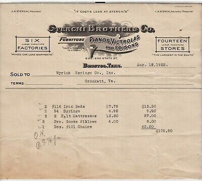 1925 Sterchi Bros Piano Wyrick Spring Co Letterhead Crockett Virginia