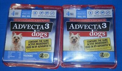 Lot of 2 ADVECTA 3 For Small Dogs 5-10 lbs 4 month Supply New free shipping