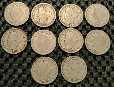 Liberty Head Nickel Lot! 10 Coins!