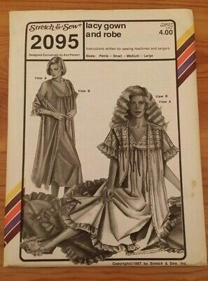 Stretch & Sew Ladies Lacy Gown Robe Pattern 2095 Size S-L Free Shipping