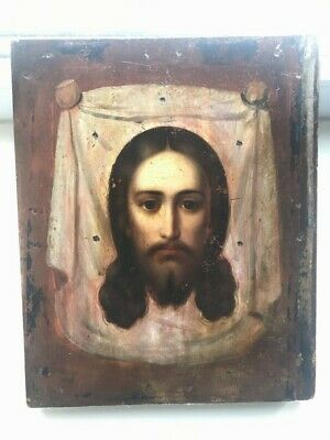 """Antique 19c Russian Orthodox Hand Painted Wood Icon""""Savior not made by""""MODERN!!!"""