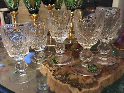 6 Waterford Lead Cut Crystal COLLEEN LIQUEUR Glasses Pristine Condition SIGNED