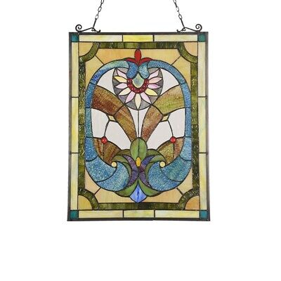 """24.6"""" x 17.7"""" Unique Blues & Greens Victorian Stained Glass Window Panel"""